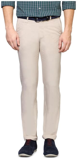 Peter England Men Beige Solid Slim fit Regular trousers