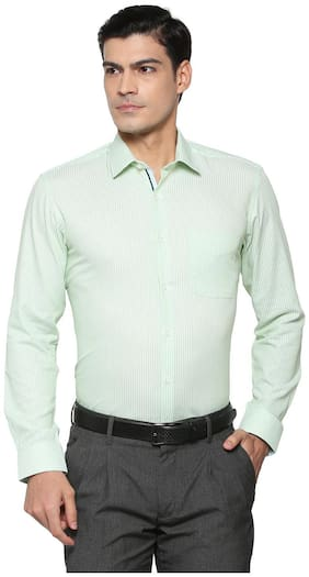 Peter England Men Regular Fit Formal Shirt - Green