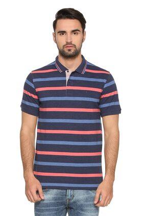 Peter England Men Regular Fit Polo Neck Striped T-Shirt - Blue
