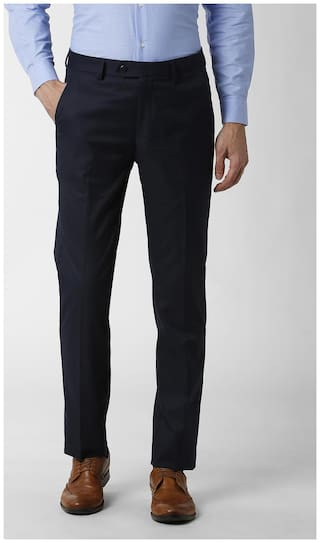 Peter England Men Solid Slim Fit Formal Trouser - Blue