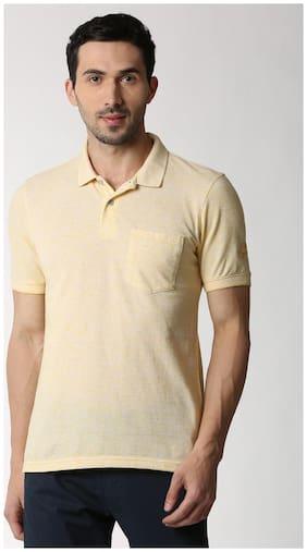 Men Polo Collar Self Design T-Shirt