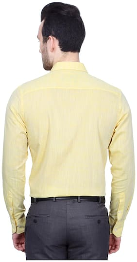 Peter England Men Slim fit Formal Shirt - Yellow