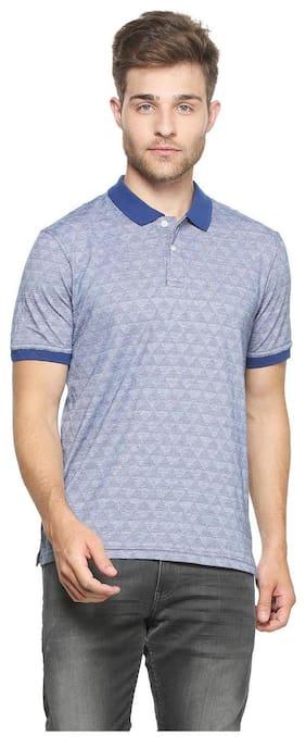 9ac771ec40b Peter England Men Regular Fit Polo Neck Self Design T-Shirt - Blue