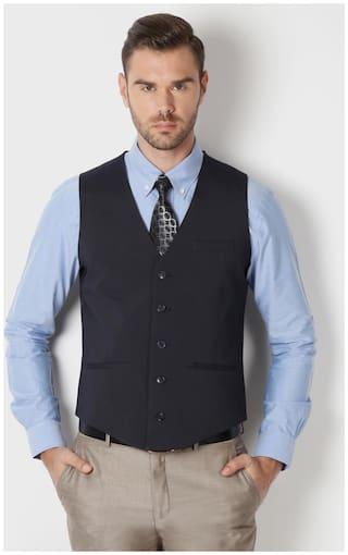 Peter England Men Polyester Slim Fit Waistcoat - Blue