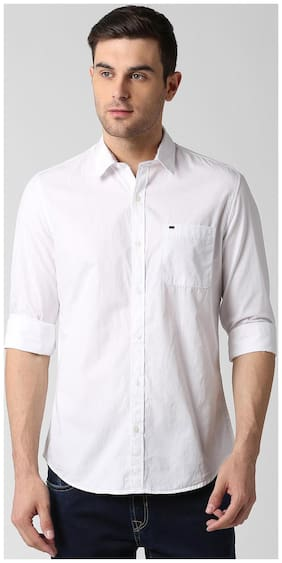Peter England Men Slim Fit Casual shirt - White