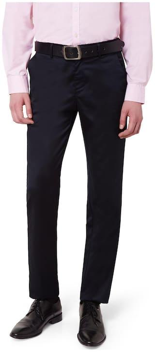 Peter England Men Solid Slim Fit Formal Trouser - Black
