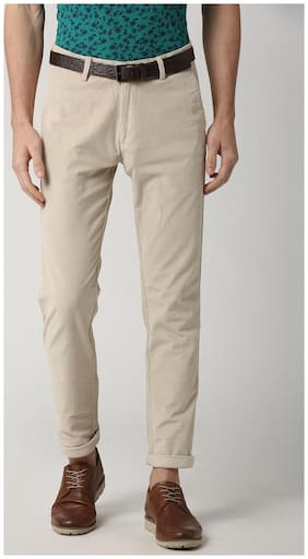 Peter England Beige Casual Trousers
