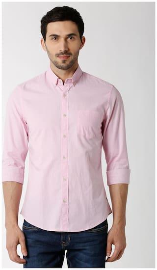 Peter England Men Super slim fit Formal Shirt - Pink