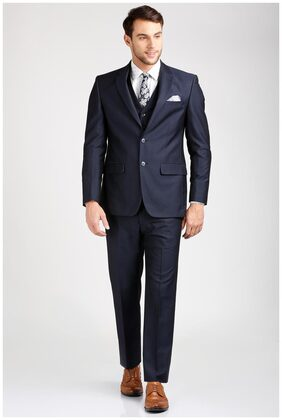 Peter England Men Blended Regular Fit Suit - Blue