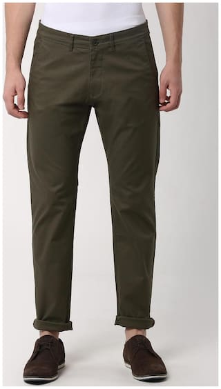 Peter England Green Casual Trousers