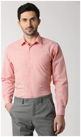 Peter England Men Slim Fit Formal Shirt - Red