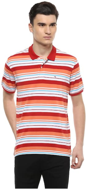 Peter England Men Regular fit Polo neck Striped T-Shirt - Red