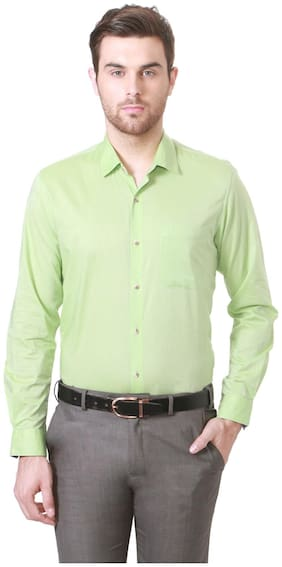 Peter England Cotton Slim Green Formal Shirts