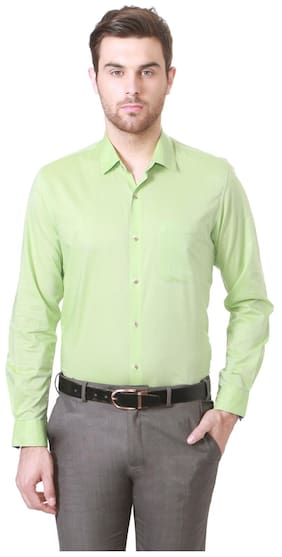 Peter England Men Slim Fit Formal Shirt - Green
