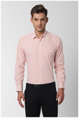 Peter England Men Slim fit Formal Shirt - Orange
