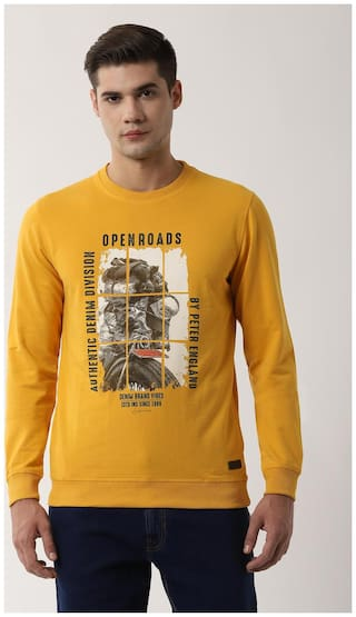 Peter England Men Yellow Round neck Sweatshirt