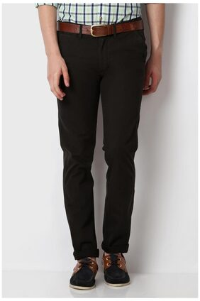 Peter England Black Cotton Ultra Slim Fit Casual Trouser