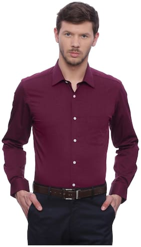 Peter England Men Slim fit Formal Shirt - Maroon