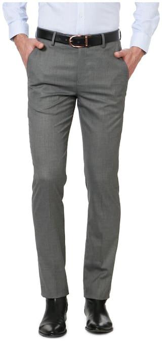 Peter England Men Solid Slim Fit Formal Trouser - Grey