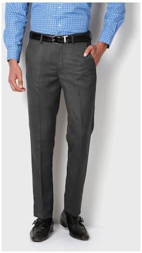 Peter England Grey Terylene Rayon Blend Slim Fit Formal Trouser