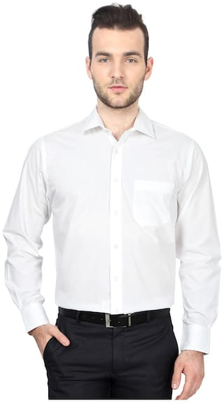 Peter England Men Regular Fit Formal Shirt - White