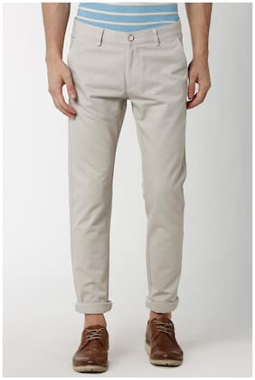 Peter England White Casual Trousers