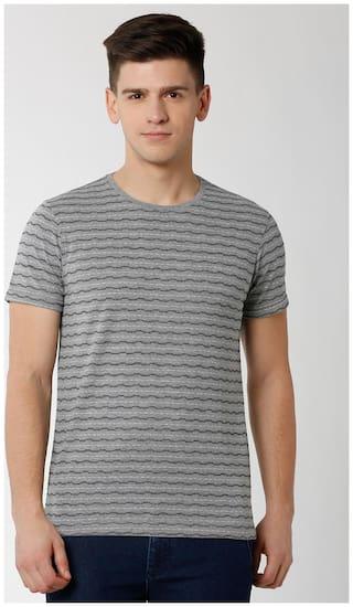 Peter England Men Grey Slim fit Cotton Blend Round neck T-Shirt - Pack Of 1