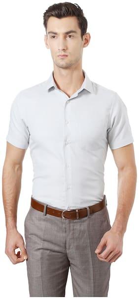 Peter England Men Regular Fit Formal Shirt - Grey
