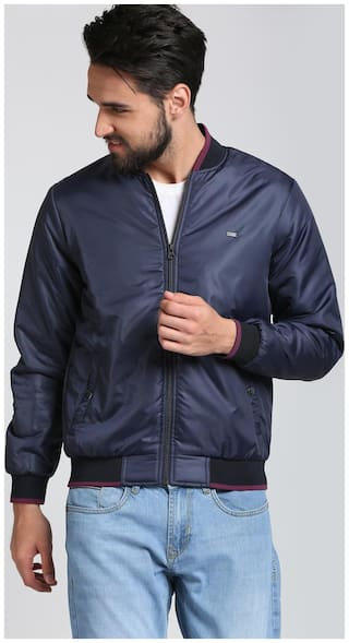 Peter England Men Blue Solid Bomber jacket - Blue