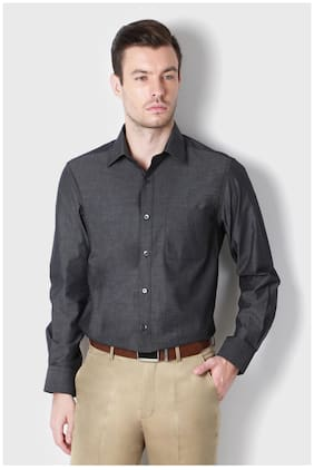 Peter England Men Regular Fit Formal Shirt - Grey
