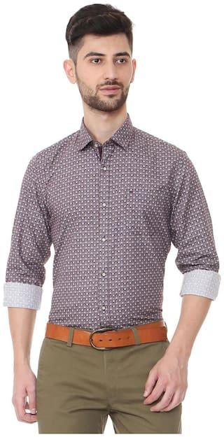 Peter England Men Maroon Printed Slim Fit Casual Shirt