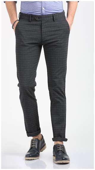 791474bfb Buy Peter England Grey Trousers Online at Low Prices in India ...