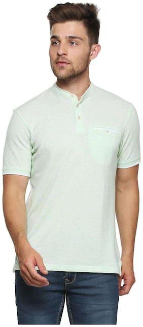 Peter England Men Regular fit Henley neck Solid T-Shirt - Green