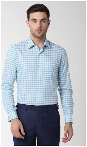 Men Slim Fit Checked Formal Shirt