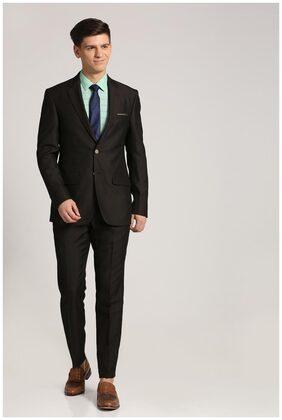 Peter England Men Blended Regular Fit Suit - Black