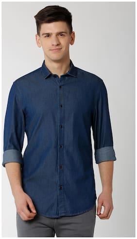 Peter England Men Super Slim Fit Casual shirt - Blue