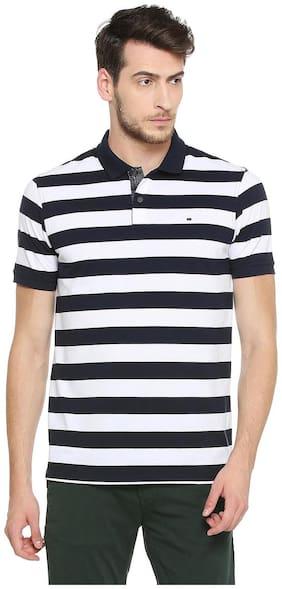 Peter England Men Regular fit Polo neck Striped T-Shirt - Black