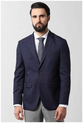 Peter England Men Blue Checked Slim fit Single Breasted Blazer