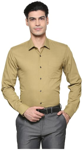 Peter England Men Slim Fit Formal Shirt - Gold