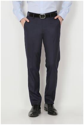 Peter England Navy Poly Viscose Blend Slim Fit Formal Trouser