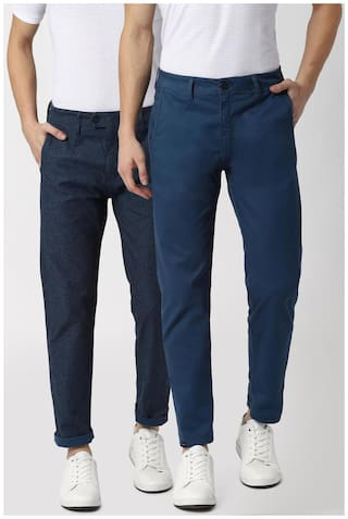 Peter England Men Blue Solid Slim fit Reversible Regular trousers