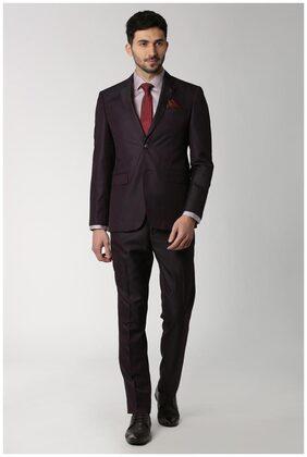Peter England Men Blended Slim Fit Suit - Purple
