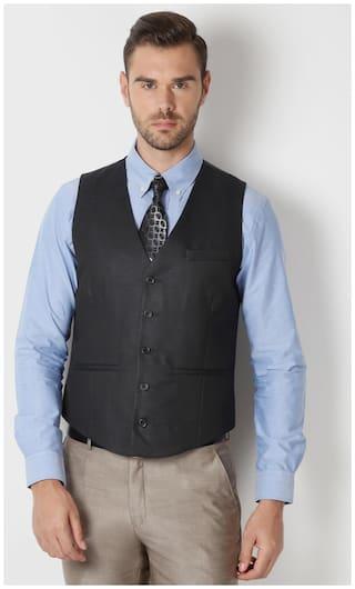 Peter England Men Polyester Slim Fit Waistcoat - Black