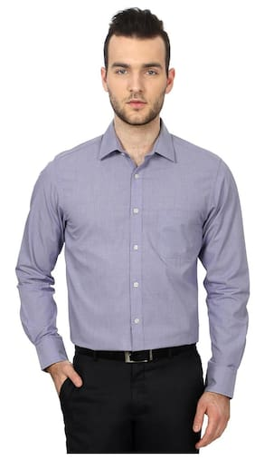 Peter England Men Regular Fit Formal Shirt - Purple