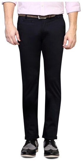 Peter England Cotton Lycra Blend Black Solid Ultra Slim Fit Business Casual Trouser