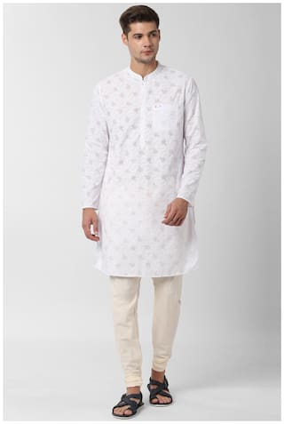 Peter England Men White Slim Fit Kurta