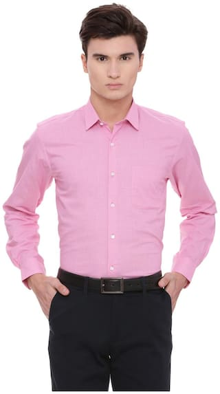Peter England Men Regular Fit Formal Shirt - Pink
