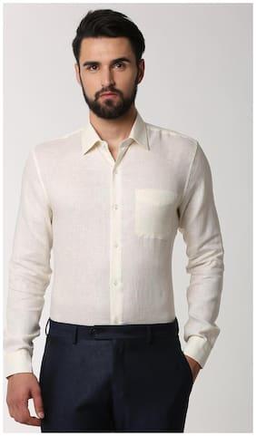 Peter England Men Slim Fit Formal Shirt - Beige