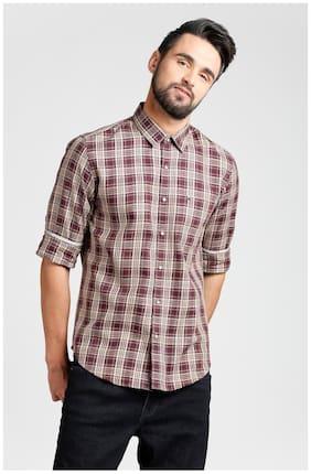 Peter England Men Slim Fit Casual shirt - Maroon