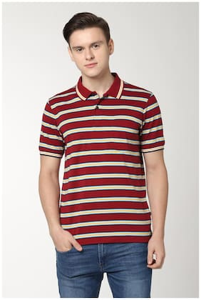 Men Polo Collar Striped T-Shirt